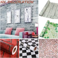 NK DECORATION Width 45cm Self Adhesive Stone PVC Vinyl Wallpaper Wall  Sticker For Bathroom Kitchen Wall