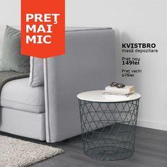 Catalog nou, noi prețuri mai mici. De acum, dacă alegi să cumperi măsuța cu depozitare KVISTBRO, vei rămâne cu mai mulți bani și pentru cafea, așa că te poți bucura din plin de momentele relaxante acasă.  KVISTBRO măsuță depozitare Preț Nou: 149 lei Preț vechi: 175 lei Ikea, Modern, Table, Furniture, Home Decor, Houses, Trendy Tree, Decoration Home, Ikea Co