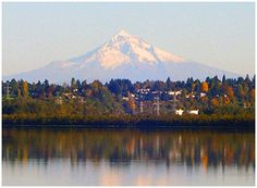 Mt. Hood from across river from Portland, OR