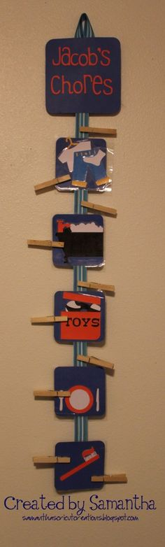 """""""Chore Chart"""" Kinda like this but the clothes pins will say TO DO on one side and DONE on the other side. The youngest is gonna start with 2 pictures/chores....as they get older, they can get another picture/chore added :)"""