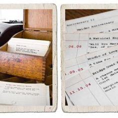 """Card Catalog Anniversary Gift-Each card made to look like a library card represents a memory, with the """"book number"""" being the date, the """"title"""" being chapters from your life, etc.  Plus, you can continue to add to the set over the years!"""