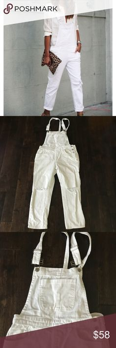 """F21 White Denim Crop Distressed overalls jumpsuit F21 White size Small Denim 5 pockets Slit knees Crop length at 22 1/2"""" inseam  Perfect condition Forever 21 Pants Jumpsuits & Rompers"""