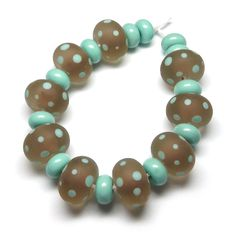 'Eggshell' Spotties lampwork glass beads by Laura Sparling