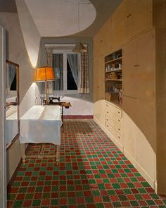 """huariqueje: """" Sewing Room - Isabel Quintanilla 1974 Spanish b. Oil on board, 100 x 82 cm. Art Madrid, Spanish Painters, Collaborative Art, Sewing Rooms, Contemporary Paintings, Home Art, Indoor, Inspiration, Home Decor"""