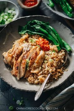 If you don't want to spend your evening washing dishes, try this delicious one-pan Chinese chicken and rice dinner that reveals juicy chicken with crispy skin atop extra-flavorful rice. {Gluten-Free adaptable} Duck Recipes, Asian Recipes, Ethnic Recipes, Chinese Recipes, Chicken Recipes, Easy Recipes, Healthy Eating Recipes, Healthy Cooking, Healthy Meals