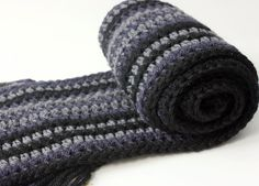 Man's Wool and Silk Crocheted Scarf Striped Unisex by beadedwire, $55.00