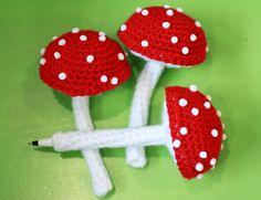 Mushroom #Crochet Pen Cozy sold by @Twinkie Chan