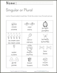 Singular or Plural - Noun Worksheet | Free to print (PDF file). For kindergarten and first grade. http://studenthandouts.com/01-Web-Pages/2014-01/singular-or-plural-kindergarten-first-grade-noun-worksheet.html
