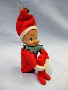 "Vintage Chenille Trim Red Christmas  Per 12/"" Repair Pinecone Elves Fairies Craft"