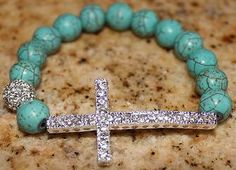 Cross  Bracelet with Turquoise Beads! :)