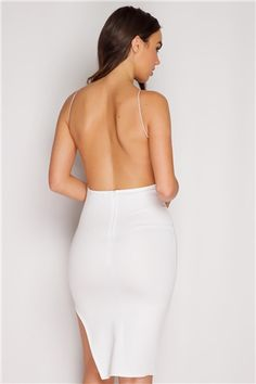 Patricia White Low Back Midi Dress