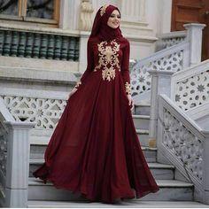 Plus Size Burgundy Evening Dresses Prom Dress long Sleeve Zipper Back Saudi Arabic Cheap Formal Party Dress Muslim Middle East Full Length Burgundy Evening Dress, Hijab Evening Dress, Hijab Dress Party, Black Evening Dresses, Burgundy Dress, Prom Dresses Long With Sleeves, Muslim Fashion, Hijab Fashion, Style Fashion