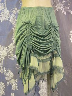 Kelly Green Up-Cycled Slip Skirt by getjuliet on Etsy