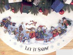 Let It Snow Tree Skirt SnowCross Stitch
