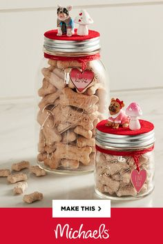Are your Valentines the four-legged type? Make these cute Valentine's Day Dog Treat Mason Jars for your furry friends or someone else's special pooch.