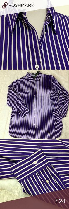 "NWT Ralph Lauren Long Sleeve Plus Size Shirt 2X NWT.  Crisp and classic menswear style shirt.   Has bold purple and white stripes. Button down front with buttons at cuffs. Includes extra buttons. 100% Cotton Shoulder to hem about 31"". Sleeve length about 24"" Underarm to underarm laid flat about 25"". *sorry, no trades* Ralph Lauren Tops Button Down Shirts"
