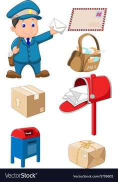 Mail carrier with bag and letter Royalty Free Vector Image Preschool Jobs, Preschool Learning Activities, Teaching Kindergarten, Preschool Activities, Space Activities, Community Helpers Worksheets, Community Helpers Crafts, Kids Math Worksheets, Kids Education