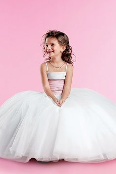 Discount Likable Spaghetti Straps Pleated Puffed Ball Gown Flower Girl Dress In The Uinted Kingdom (UKCFGD-013) Online