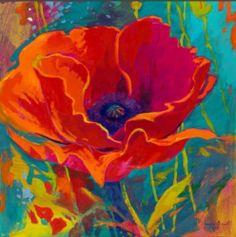 Simon Bull Red Flower Signed COA