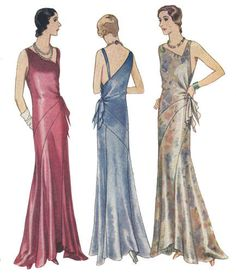 #T6298 - 1930s Evening Gown with Bias Bands Sewing Pattern - Retro Glamour