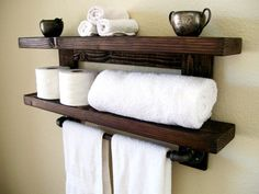 Floating Shelves Bathroom Shelf Towel Rack Wall Wood Toilet Paper Holder Storage