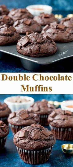 These double chocolate muffins are moist and hearty with an intense chocolate flavor. These double chocolate muffins are moist and hearty. They have beautiful domed tops, intense in chocolate flavor, and take less than 30 minutes to make! Muffins Double Chocolat, Double Chocolate Chip Muffins, Chocolate Muffins Moist, Homemade Chocolate, Chocolate Flavors, Chocolate Recipes, Chocolate Cake, Homemade Vanilla, Chocolate Cheescake
