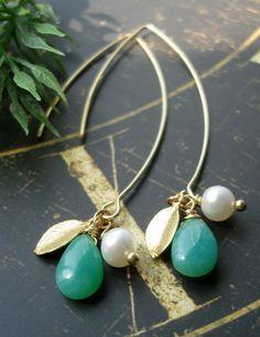 SALE Gemstone earrings leaf earrings  lotus   by madebysam on Etsy, $34.98