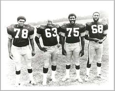 Original STEEL CURTAIN - Dwight White, Ernie Holmes, Joe Greene and L.C. Greenwood (Pittsburgh Steelers)