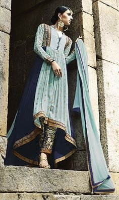 450817 Blue color family Party Wear Salwar Kameez in Faux Georgette fabric with Lace, Machine Embroidery, Resham, Stone, Thread, Zari work .