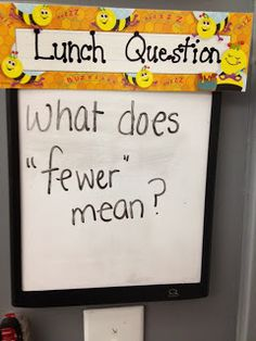 Fresh & Fun First Grade: Exit Ticket. I like the idea that students see the question, can think about it as they line up and walk to lunch, and are able to tell you as they enter the cafeteria.