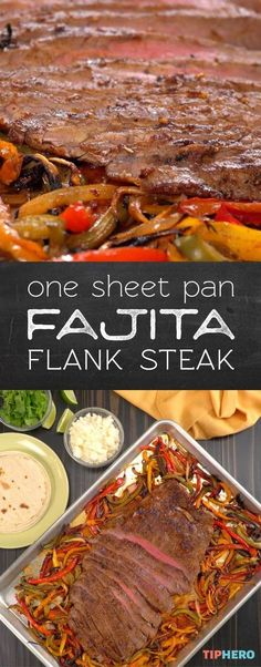 Fajita flank steak | We're spicing up the easy sheet pan dinner with a flank steak with up all of the fixings for fajitas. Click for the video to see how easy it is to do.  #dinnertime #familydinner #homecooking