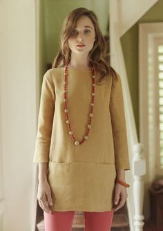 linen tunic with slot seam pockets from TOAST UK