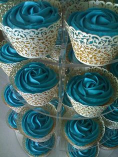 Cupcake tower! blue rose frosted cupcakes with lace