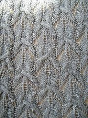Intermediate level. Charted design. Cables and lace work.