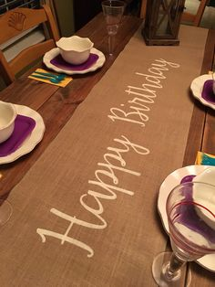 """Burlap Table Runner 12"""", 14"""", & 15"""" wide with Happy Birthday - Birthday runner Holiday decorating Home decor Party runner by CreativePlaces on Etsy"""
