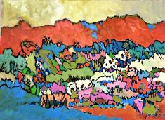 Crimson Glory - Chava Silverman, Expressionist brilliant color fantasy landscape painting in acrylics on canvas, with red crimson mountains and variegated color landscape
