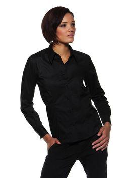 Bar gear Camicia donna aziendale ristorante NERA  manica lunga base arrotondata