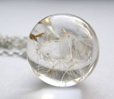 Bridal Dandelion Seeds Resin and Silver Necklace Small by sisicata