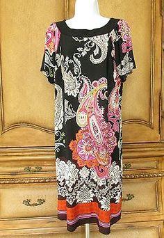 TIANA B Plus 1X Paisley Printed Multi-Color Shift Dress Scoop Neck Matte Jersey