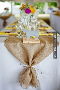 So neat! - Reception: Burlap table runners. | CHECK OUT MORE IDEAS AT WEDDINGPINS.NET | #weddings #rustic #rusticwedding #rusticweddings #weddingplanning #coolideas #events #forweddings #vintage #romance #beauty #planners #weddingdecor #vintagewedding #eventplanners #weddingornaments #weddingcake #brides #grooms #weddinginvitations