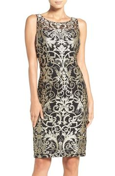Adrianna Papell Metallic Embroidered Sheath Dress (Regular & Petite) available at #Nordstrom