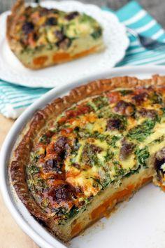 Comfort Food Monday: Deep Dish Sausage, Yam and Arugula Breakfast Pie Fresh Meadows, Breakfast Pie, Deep Dish, Yams, Arugula, Pie Recipes, Pie Pan, Sausage, Brunch