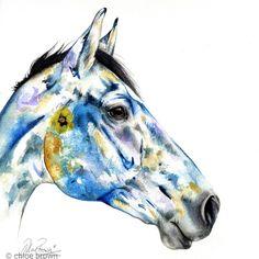 This horse painting features dried pressed flowers. Watercolor Horse, Watercolour, Dried And Pressed Flowers, Chloe Brown, Horse Artwork, Contemporary Artwork, Pet Portraits, Original Artwork, Moose Art