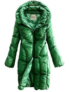 Moncler Women Metallic Fabric Green Down Coat [2899760] - £157.99 :