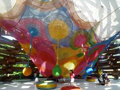 Tezuka Architects brings fantasies to life with its Woods of Net playground in Hakone, Japan. Japanese net artist Toshiko Horiuchi Macadam knitted this rainbow nest by hand for children to crawl, jump, and roll around in.