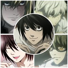 "another pinner says : ""I made this for my favorite Death Note guys. Top Left= Mello, Bottom Left= Beyond, Top Right= Near, Bottom Right= Matt, Center= L! :D Forgive my fangirl-ness. XD"".  I forgive you..."
