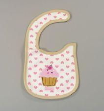 Bavoir imperméable brodé blanc/rose  gâteau muffin cupcake taille unique 0-24 m