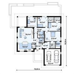 Projekt domu Z301 Parterowy dom z garażem na 2 auta, wygodnymi sypialniami i dużym tarasem Single Floor House Design, Small House Design, Tiny Apartments, New House Plans, Home Design Plans, How To Get, How To Plan, Home Projects, Bungalow