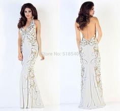 New Sexy Open Back Halter Off-Shoulder Crystal Beads Vestidos De Fiesta Long Party Evening Dresses