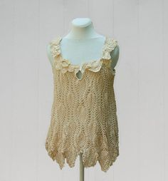 Shabby Chic Tea Stained Crochet Doily Lace Tunic Blouse from Upcycled Clothing... 62.00, via Etsy ~SOLD :(